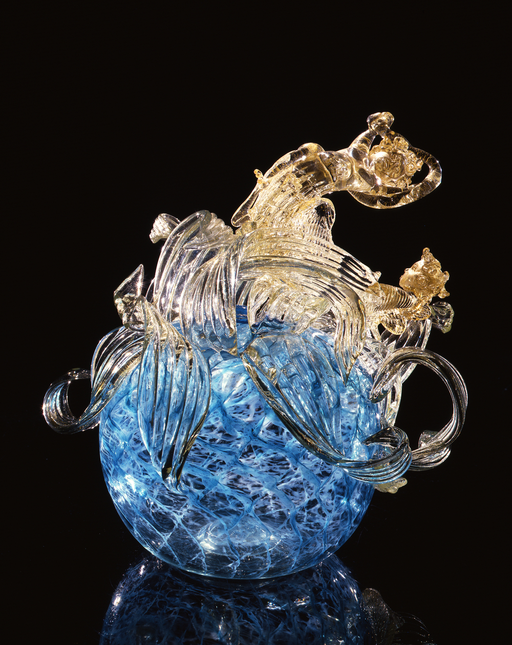 Dale Chihuly,  Translucent Blue PIccolo Venetian with Gilt Leaves and Dragons  (1994, glass, 17 x 16 x 14 inches)