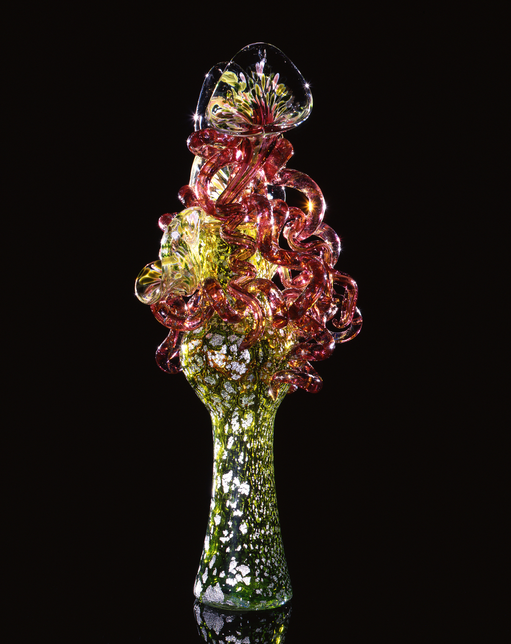 Dale Chihuly,  May Green Piccolo Venetian with Carmine Coils  (1993, glass, 13 x 5 x 5 inches)