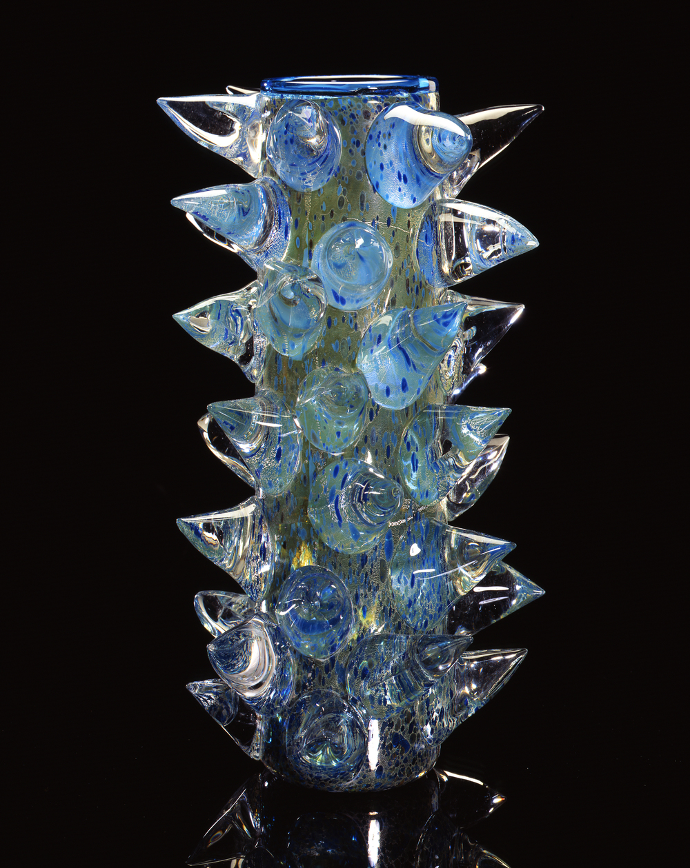 Dale Chihuly,  Silver over Starlight Blue Piccolo Venetian with Clear Prunts  (1994, glass, 10 x 6 x 6 inches)