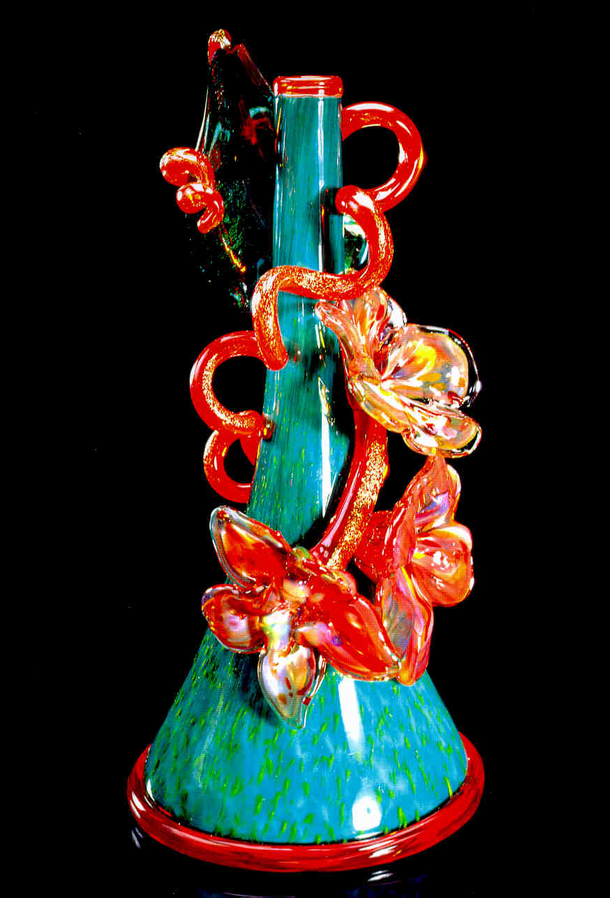Dale Chihuly,  Teal Piccolo Venetian with Poppy Red Coil and Flowers  (1995, glass, 10 x 5 x 5 inches)