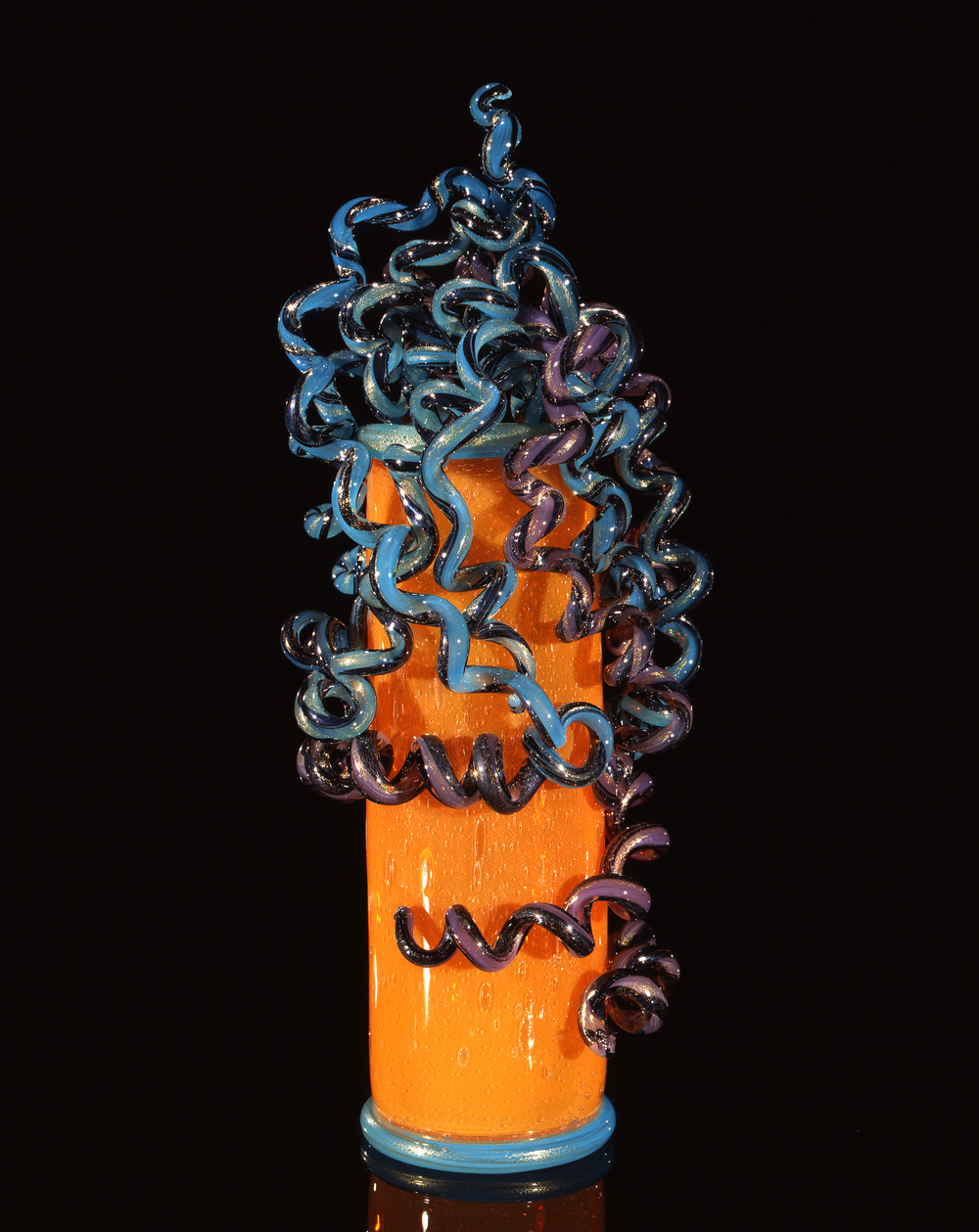 Dale Chihuly,  Mandarin Orange Piccolo Venetian with Teal and Violet Coils  (1997, glass, 14 x 6 x 5 inches)