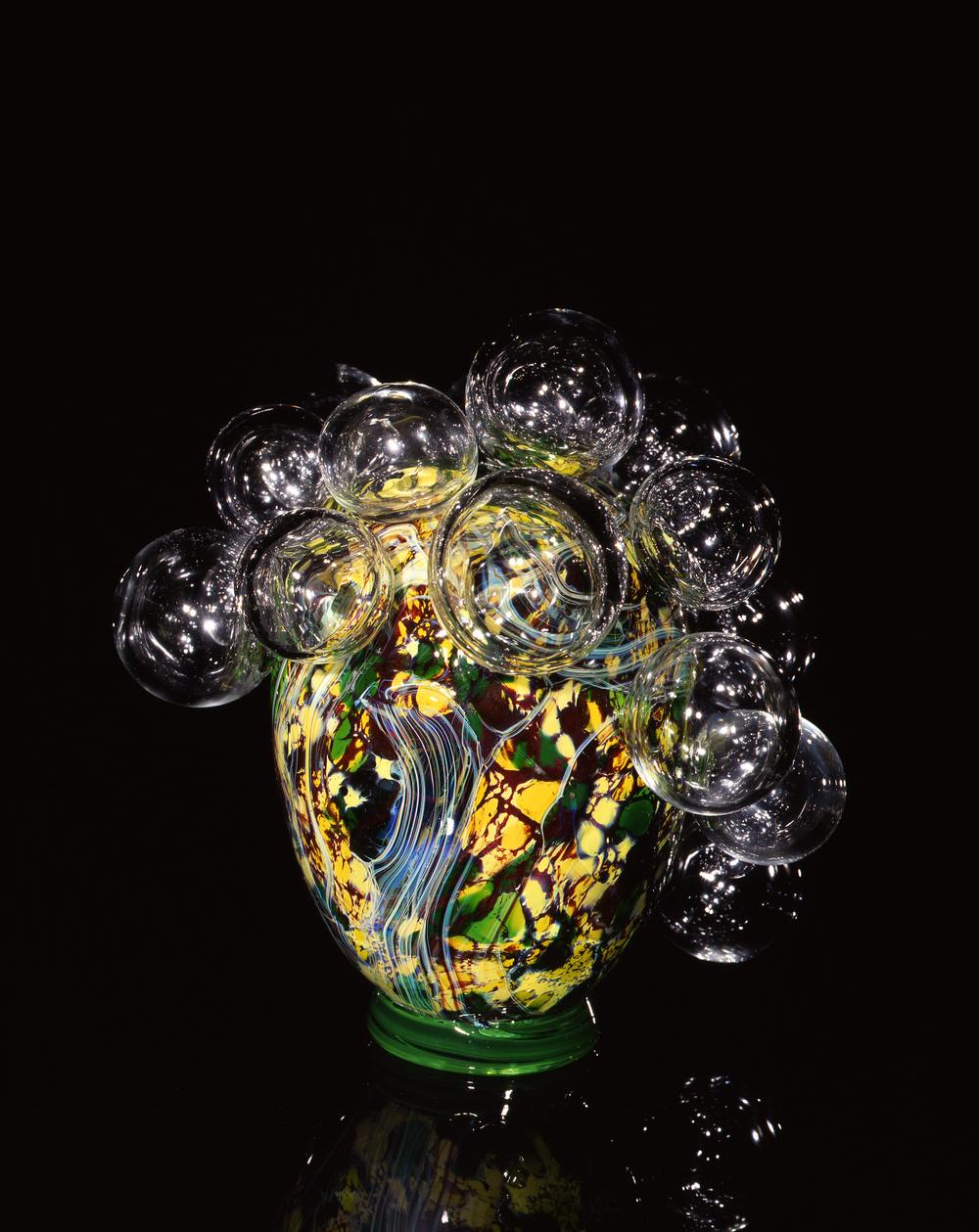 Dale Chihuly,  Moss Green Spotted Piccolo Venetian with Clear Spheres  (1997, glass, 8 x 8 x 9 inches)