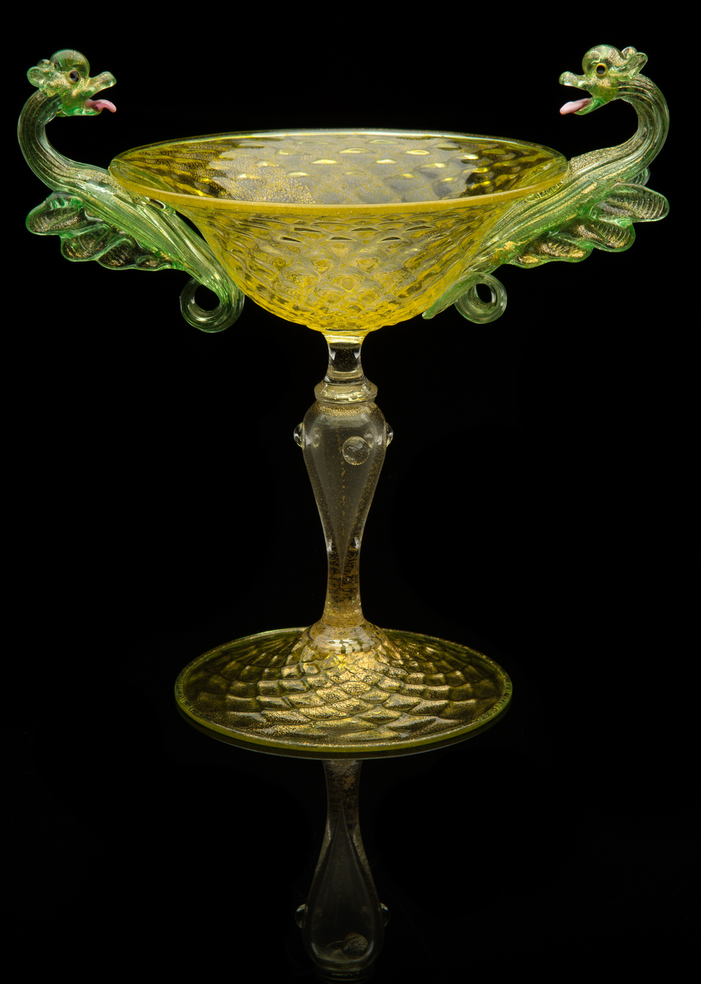 Unknown Venetian,  Chartreuse Serpent Dragon Goblet  (glass), VV.424