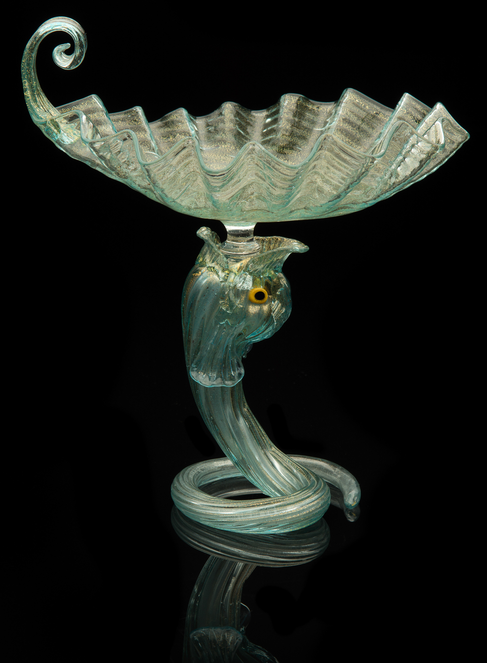Unknown Venetian,  Aquamarine Serpent Compote  (glass), VV.430