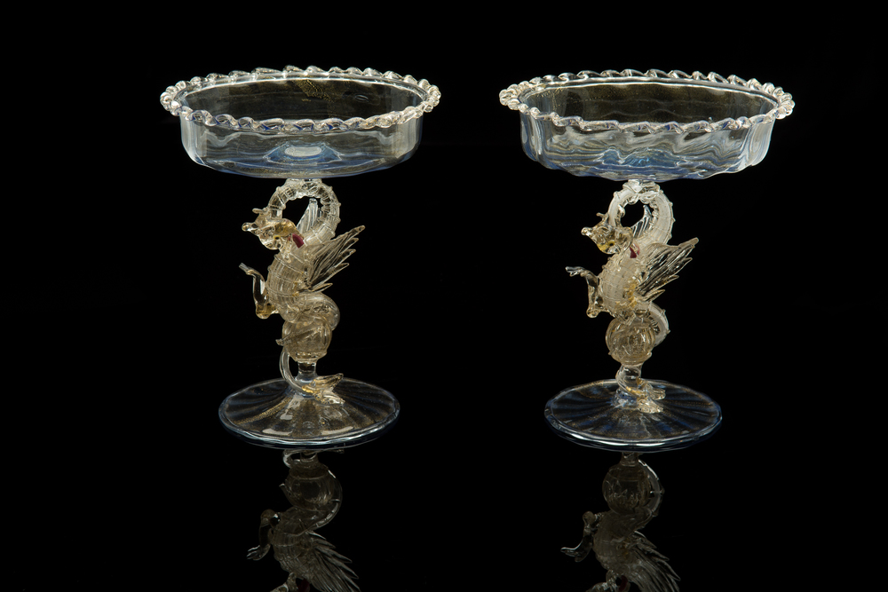 Artisti Barovier,  Two Pale   Blue and Gold Dragon Compotes  (glass, 8 x 7 x 7 inches), VV.413, VV.420