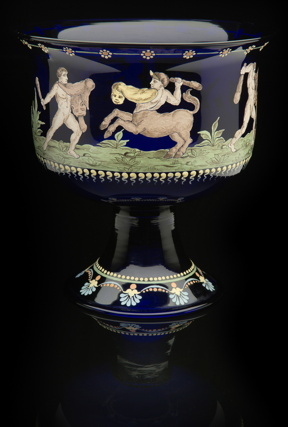 Francisco Toso Borella,  Vase: Labors of Hercules  (1900-1920, glass and enamel, 8 x 7 1/2 x 7 1/2 inches), VV.479