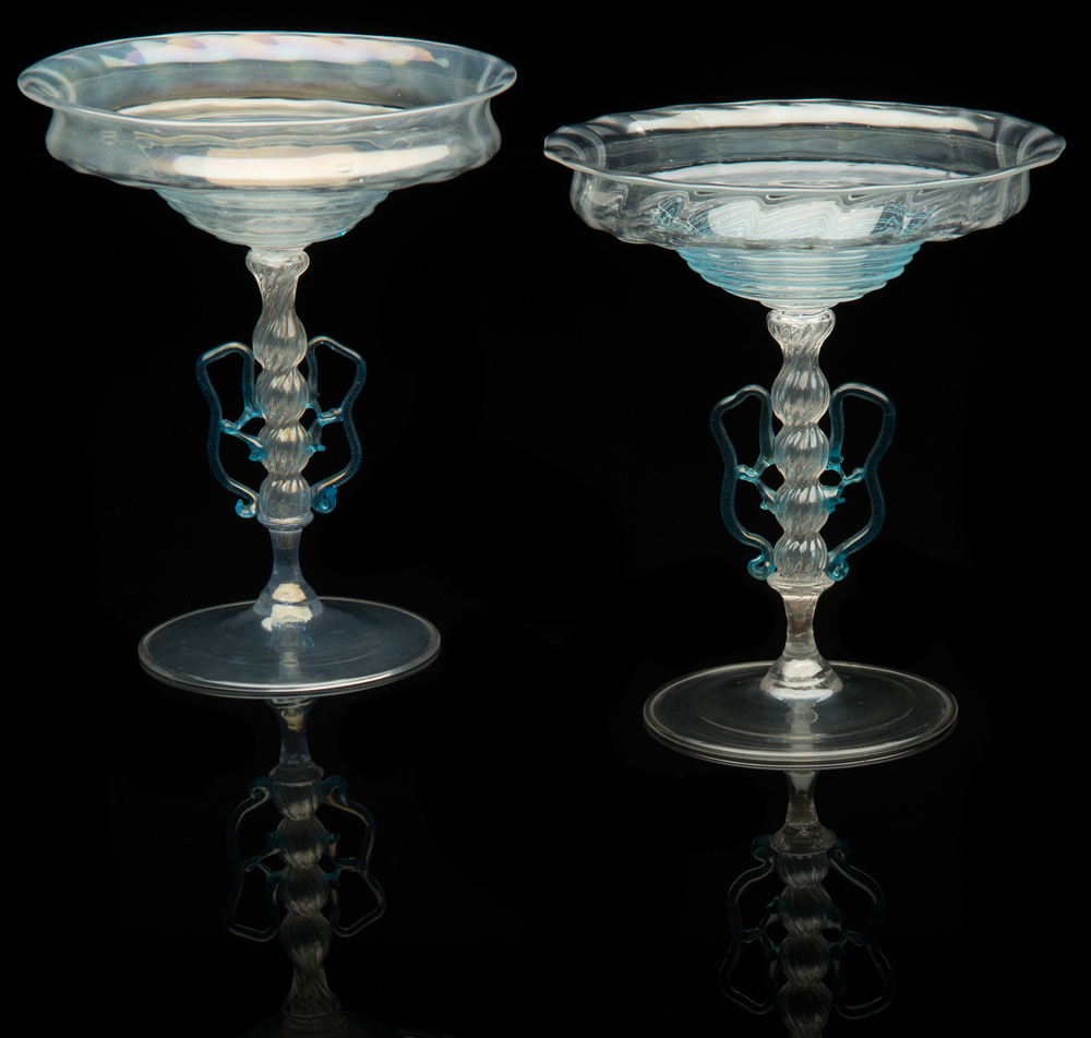 Salviati and Company,  Blue Opalescent Tazza  (1866-1875, glass, 8 inches), VV.566;  Opalescent Blue Tazza,  (1866-1875, glass, 7 5/16 inches), VV.560
