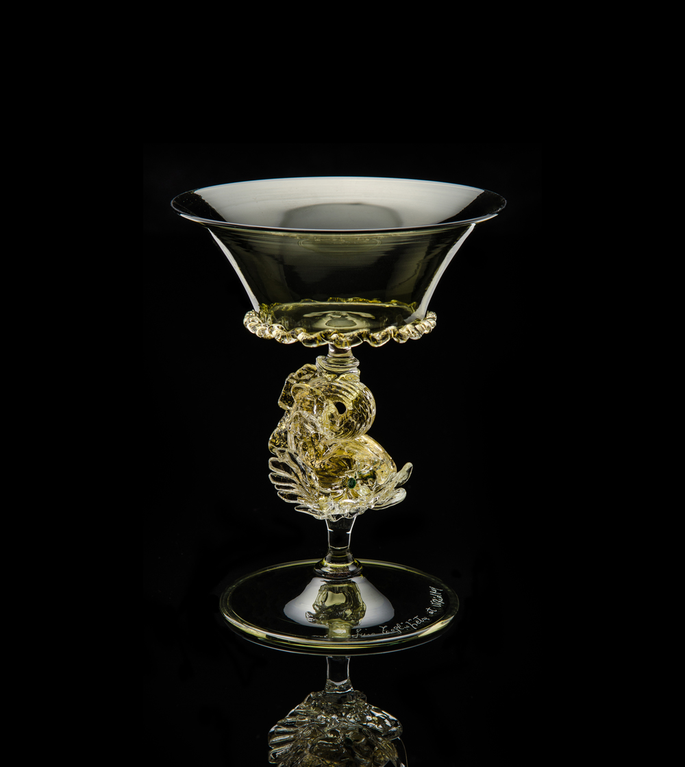 Lino Tagliapietra,  Goblet  (1991-1994, glass and gold leaf, 5 1/2 x 4 1/2 x 4 1/2 inches), LT.9