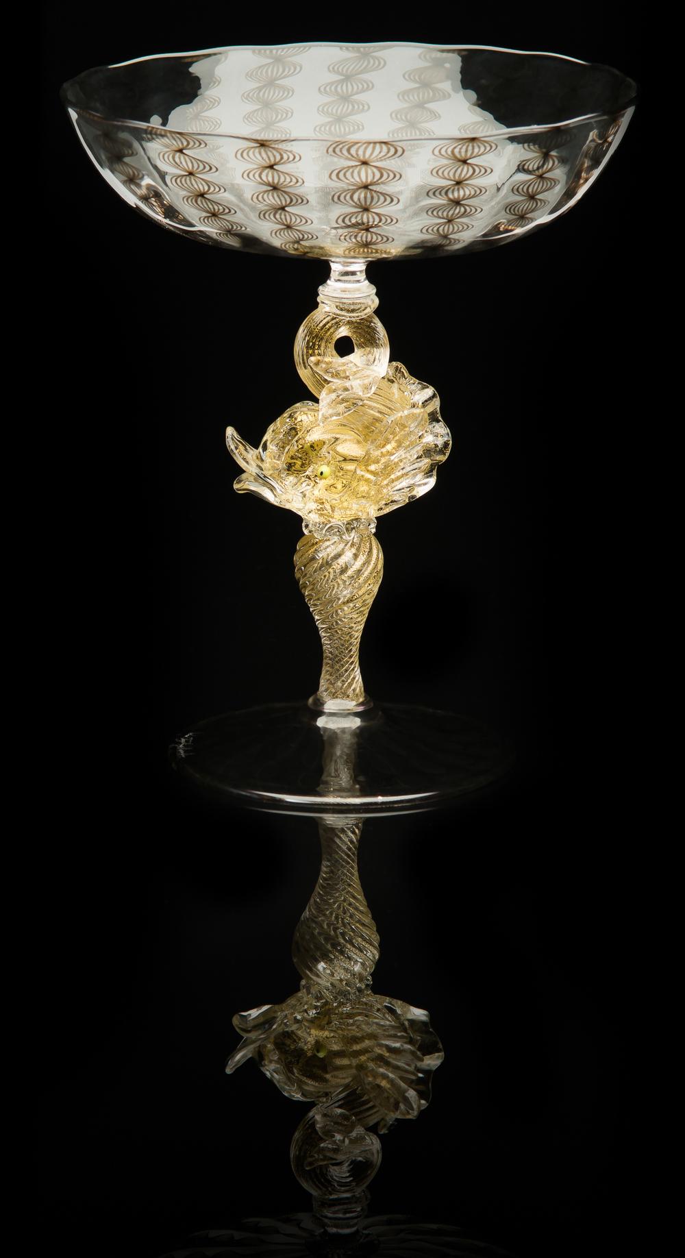 Lino Tagliapietra, Dolphin-stem Goblet, (1991-1994, glass, 6 13/16 x 5 3/4 x 5 3/4 inches), LT.26