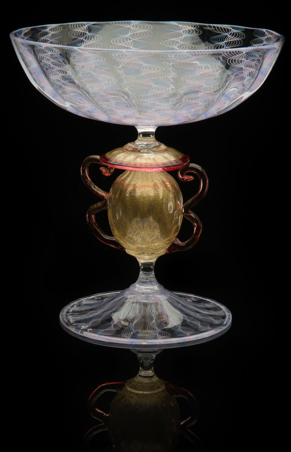 Lino Tagliapietra,  Amphoriskos-stem   Goblet  (1991-1994, glass and gold leaf, 5 3/8 x 5 1/4 x 5 1/4 inches), LT.27