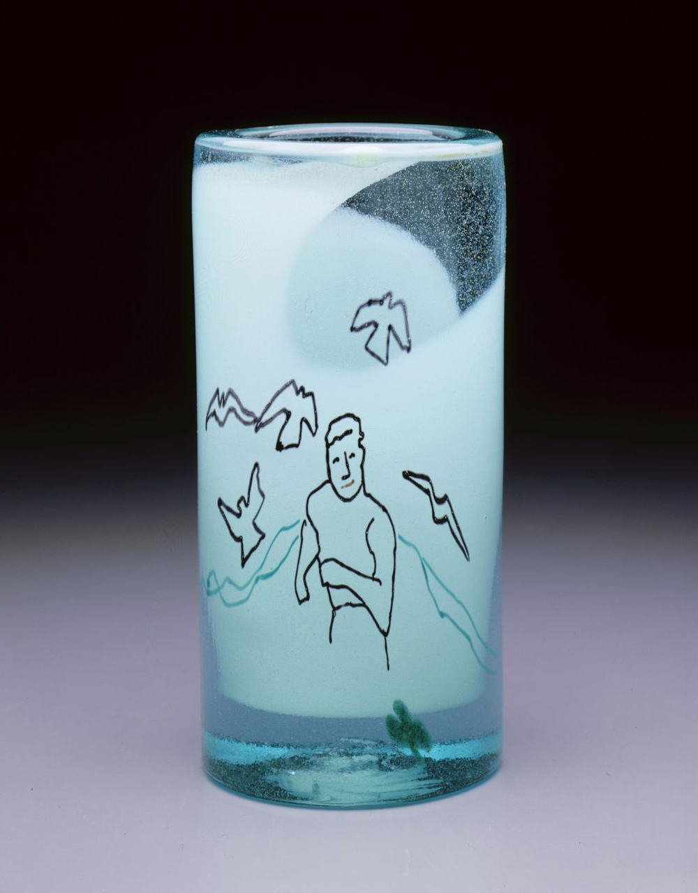 Dale Chihuly,  Irish Cylinder #18   (1975, glass, 10 x 5 inches), DC.280