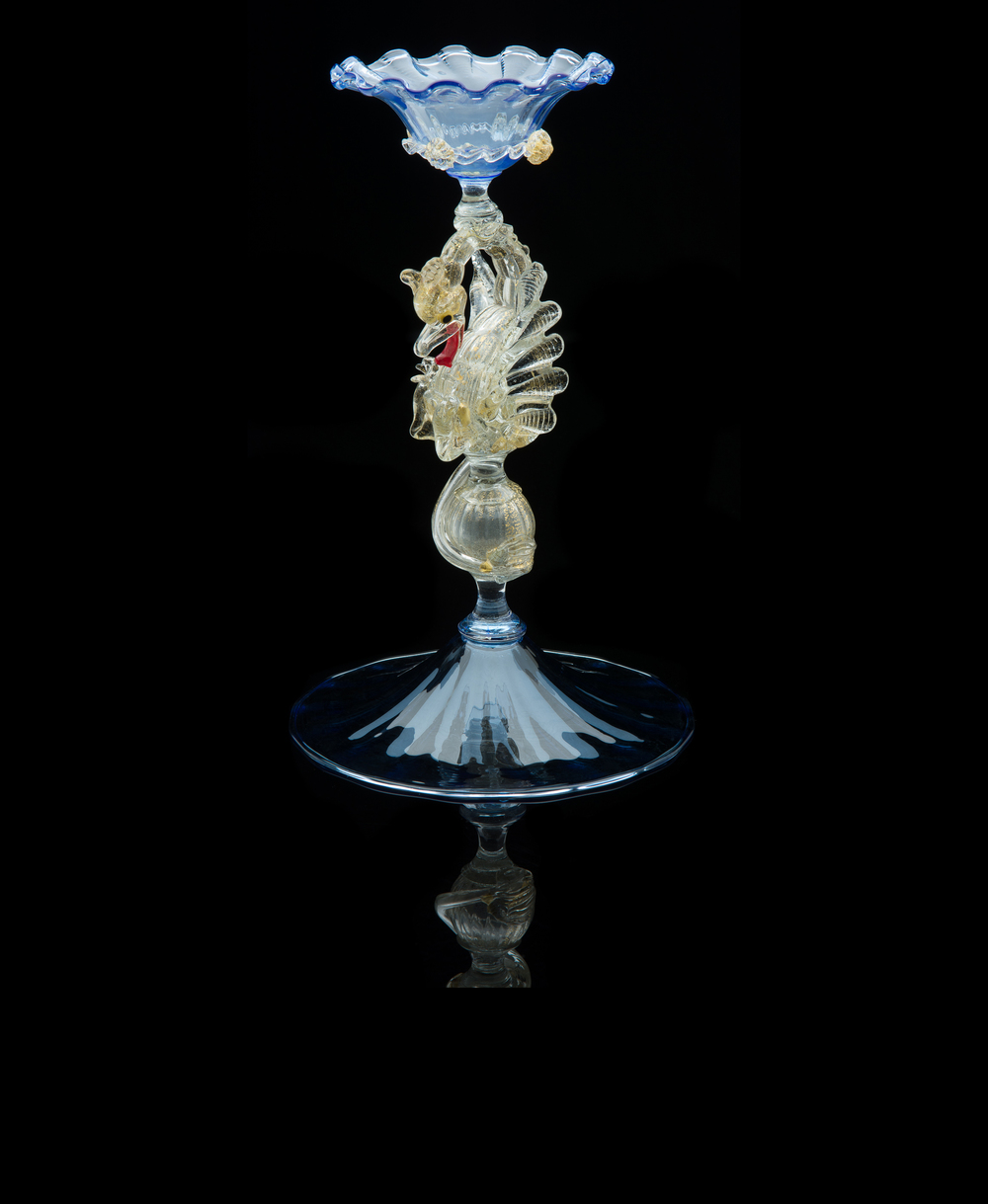 Salviati and Company,  Compote with Dragon Stem and Votive Candle Holder  (circa 1890, glass), VV.229