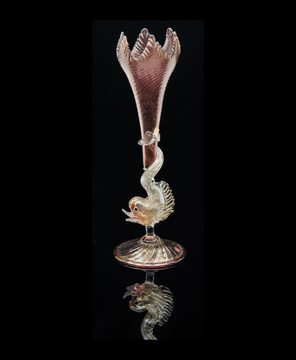 Salviati and Company,  Maroon Tulip Form Vase with Dolphin Stem  (glass, 12 1/4 inches), VV.341