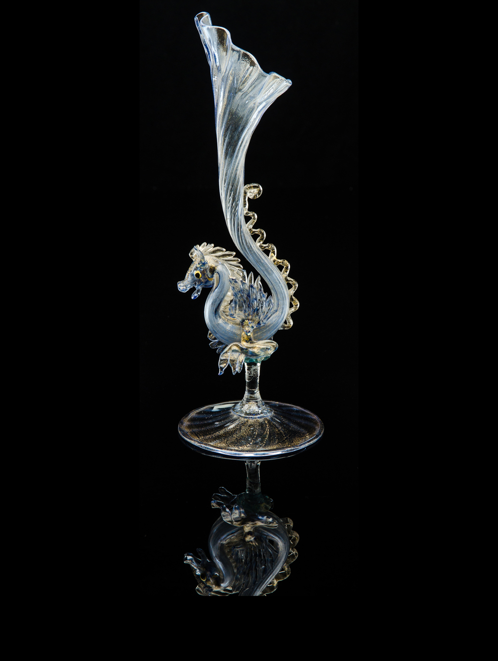Salviati and Company,  Blue Phoenix Form Bud Vase  (glass, 11inches), VV.342