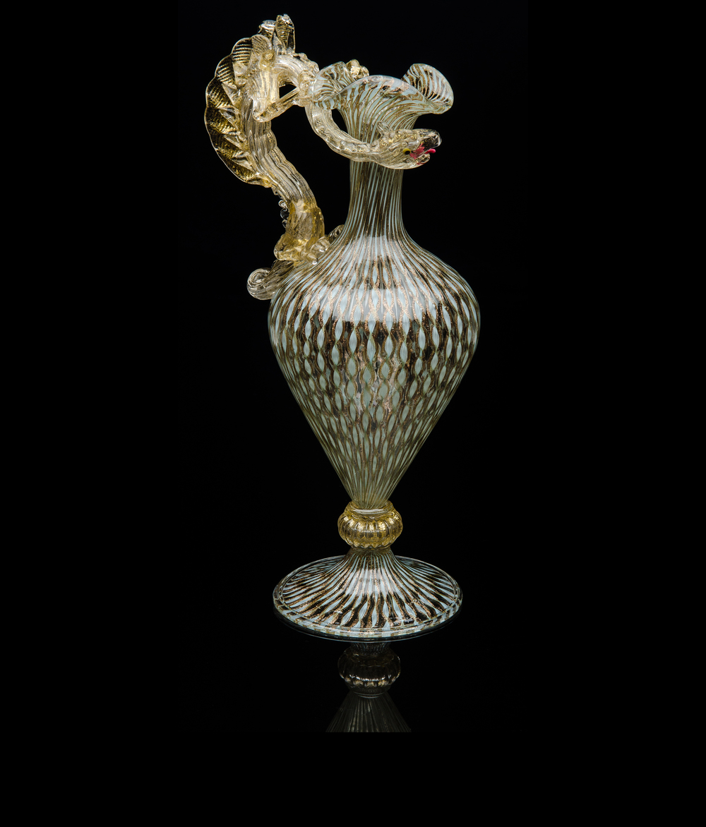 Salviati and Company,  Blue Vetro a Retorti Ewer with Dragon Handle  (glass), VV.293