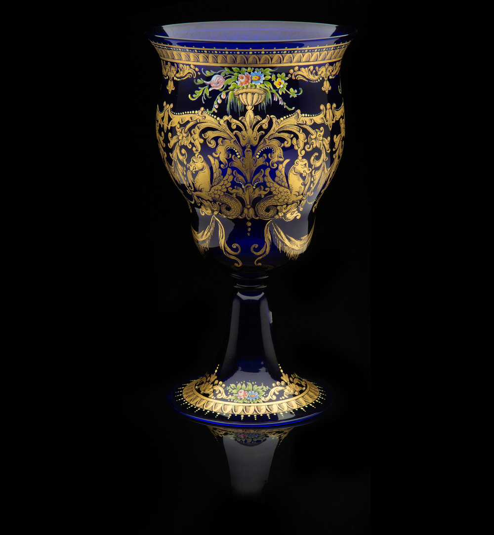 Francisco Toso Borella,  Blue Enameled Vase with Blossoms  (circa 1920, glass and enamel, 10 inches), VV.478