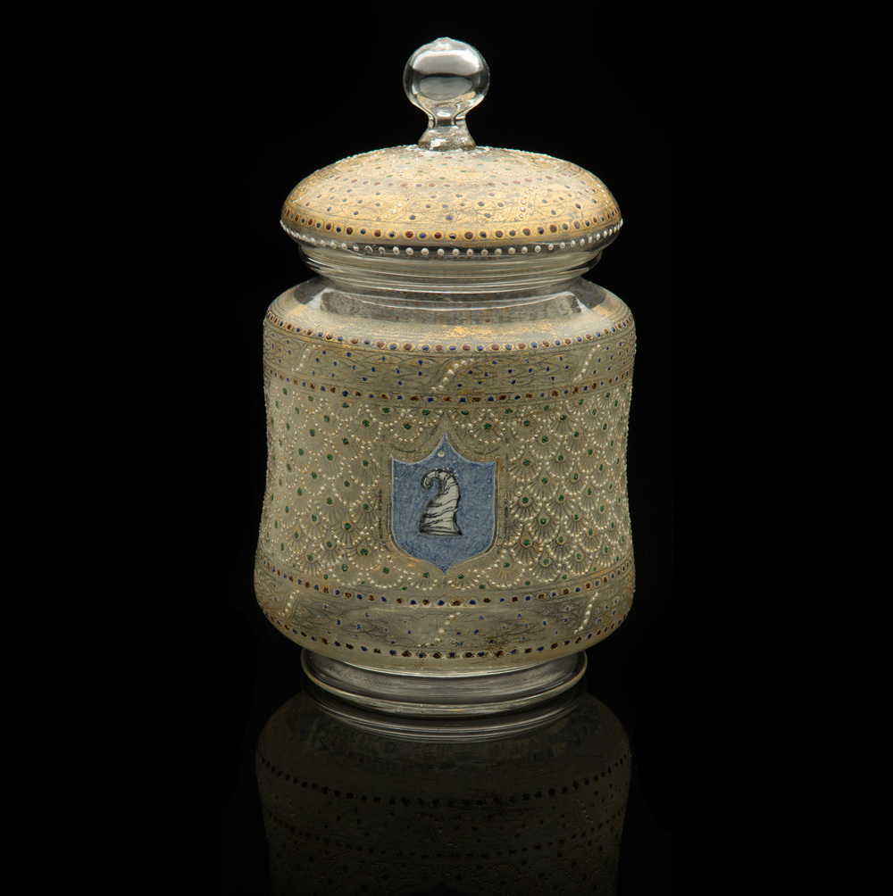 Salviati and Company,  Lidded Jar with Doge Cap Emblem  (circa 1885, glass and gilding, 8 3/4 x 5 x 5 inches), VV.481