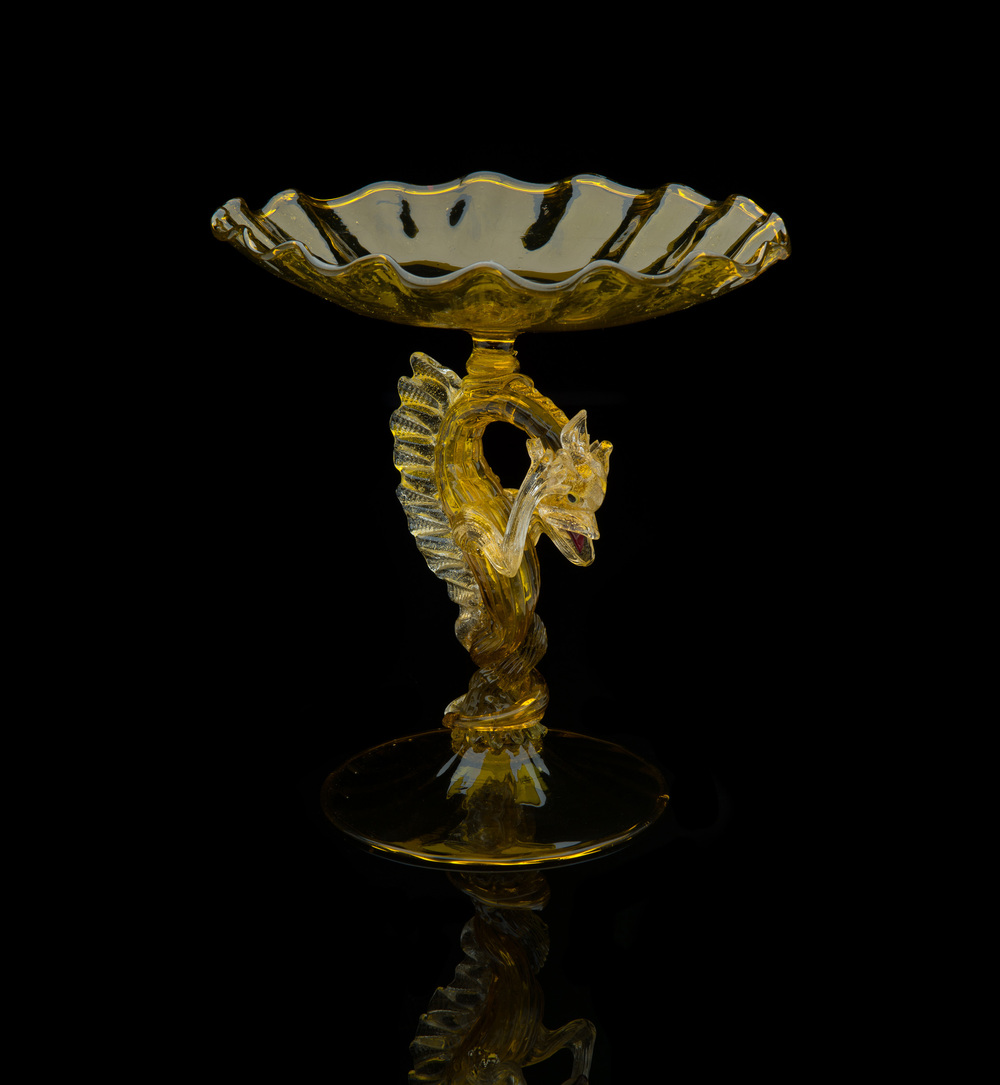 Salviati and Company,  Yellow Dragon Compote  (circa 1880-1990, glass, 11 x 11 x 11 inches), VV.419