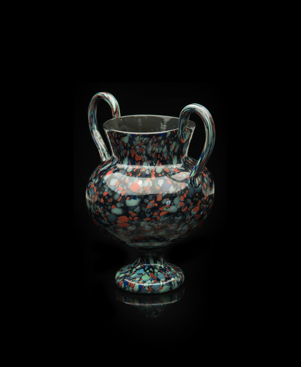 Francesco Ferro e Figlio,  Vase with Applied Handles and Polychrome Inclusions  (glass, 7 1/4 x 6 1/2 x 4 3/4 inches), VV.535
