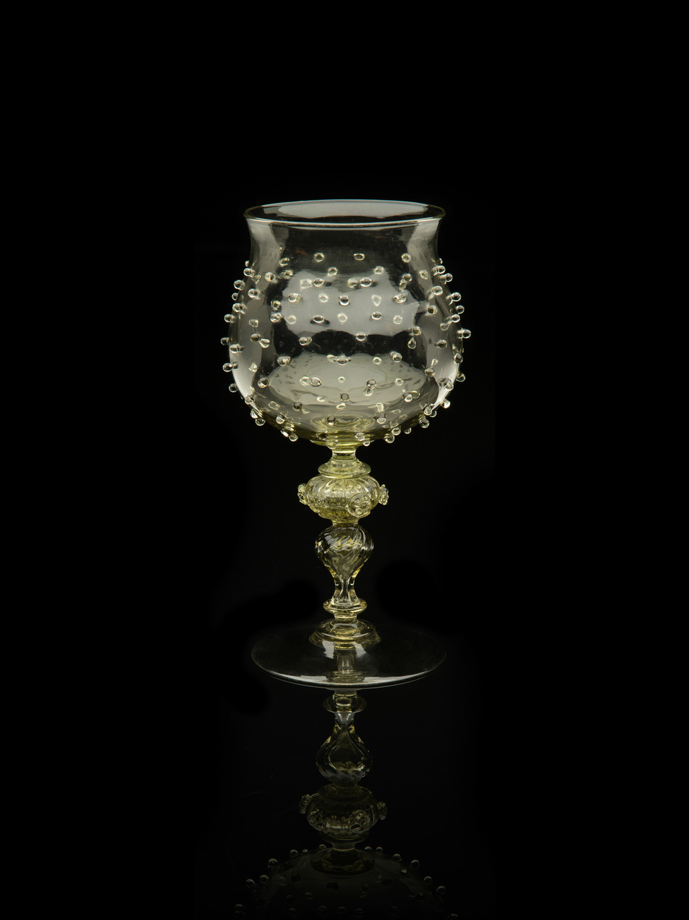 Unknown Venetian,  Goblet with Prunts  (glass, 7 3/8 x 3 1/8 x 3 1/8 inches), VV.582