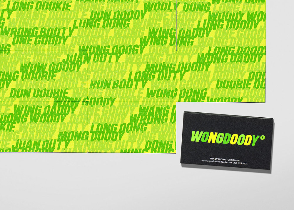 "As a nod to the fact WONGDOODY has seen memorable hack-jobs of its name ever since the agency's inception, we integrated these botched names, or ""mangles"" throughout the new identity, in a graphical text treatment on the back of new business cards and throughout the website"