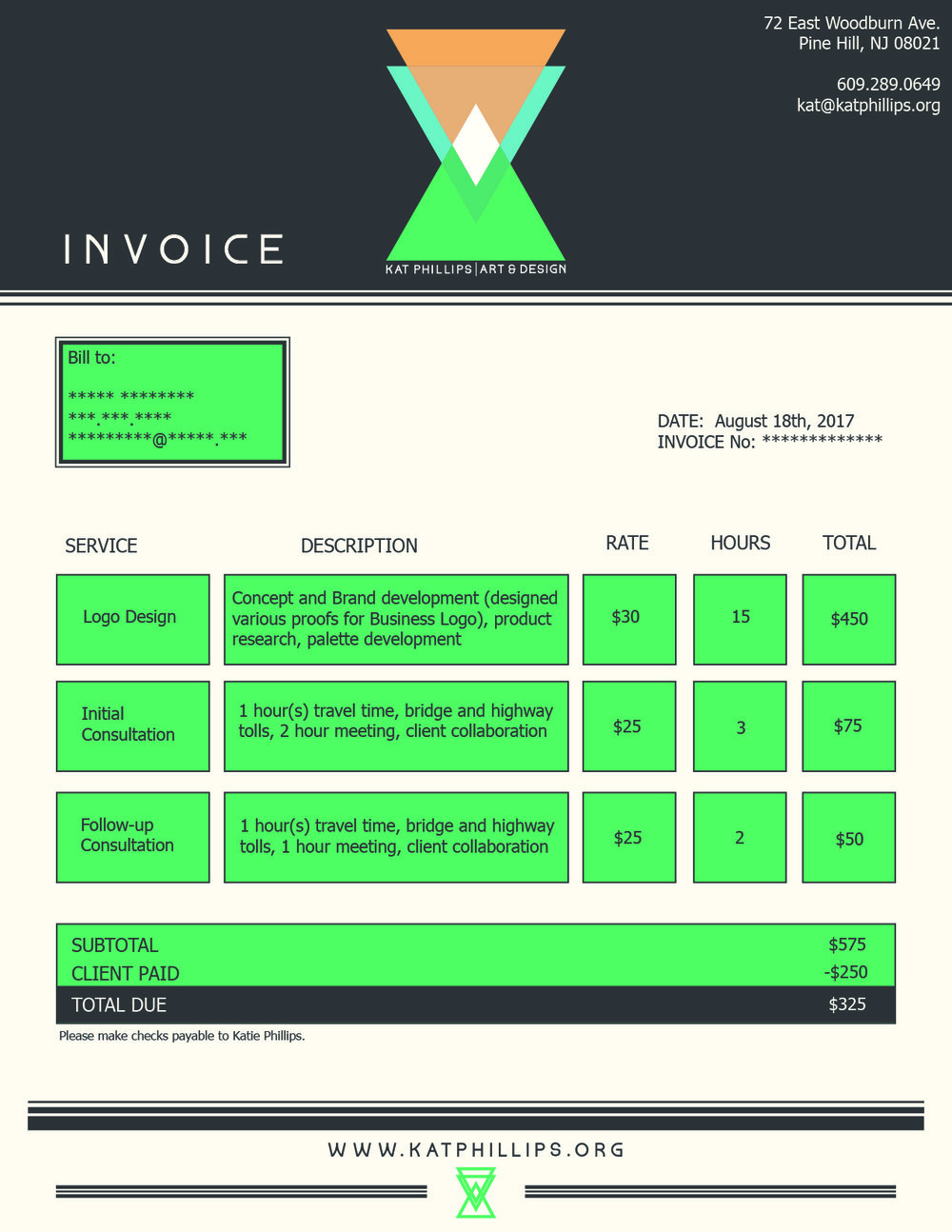 Kat Phillips Art & Design Invoice Layout