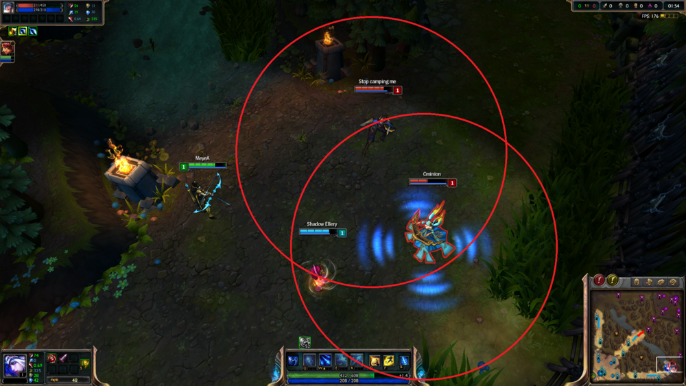 Draw attention away from the ADC by being slightly in front