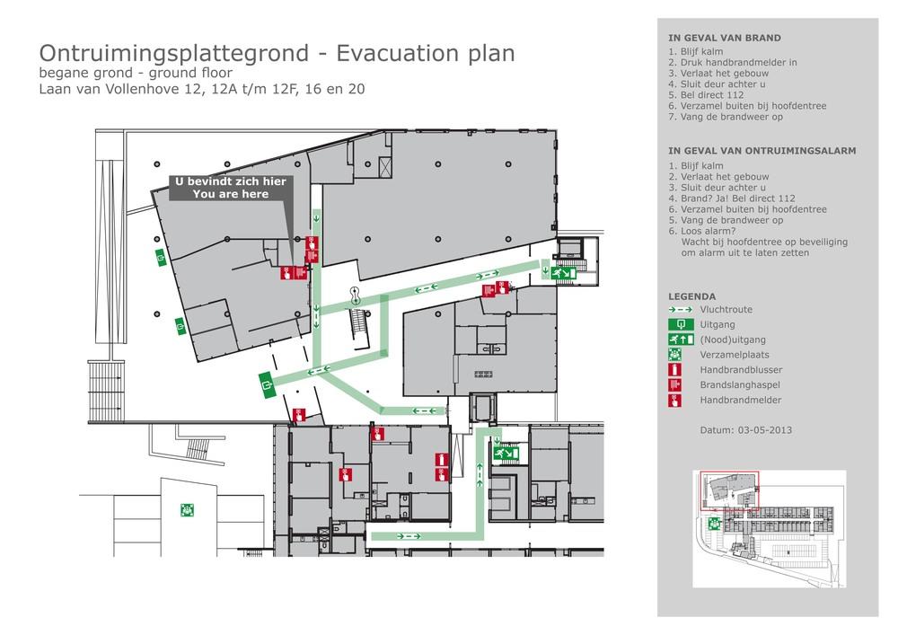 Voorbeeld ontruimingsplattegrond. Klik om te downloaden.