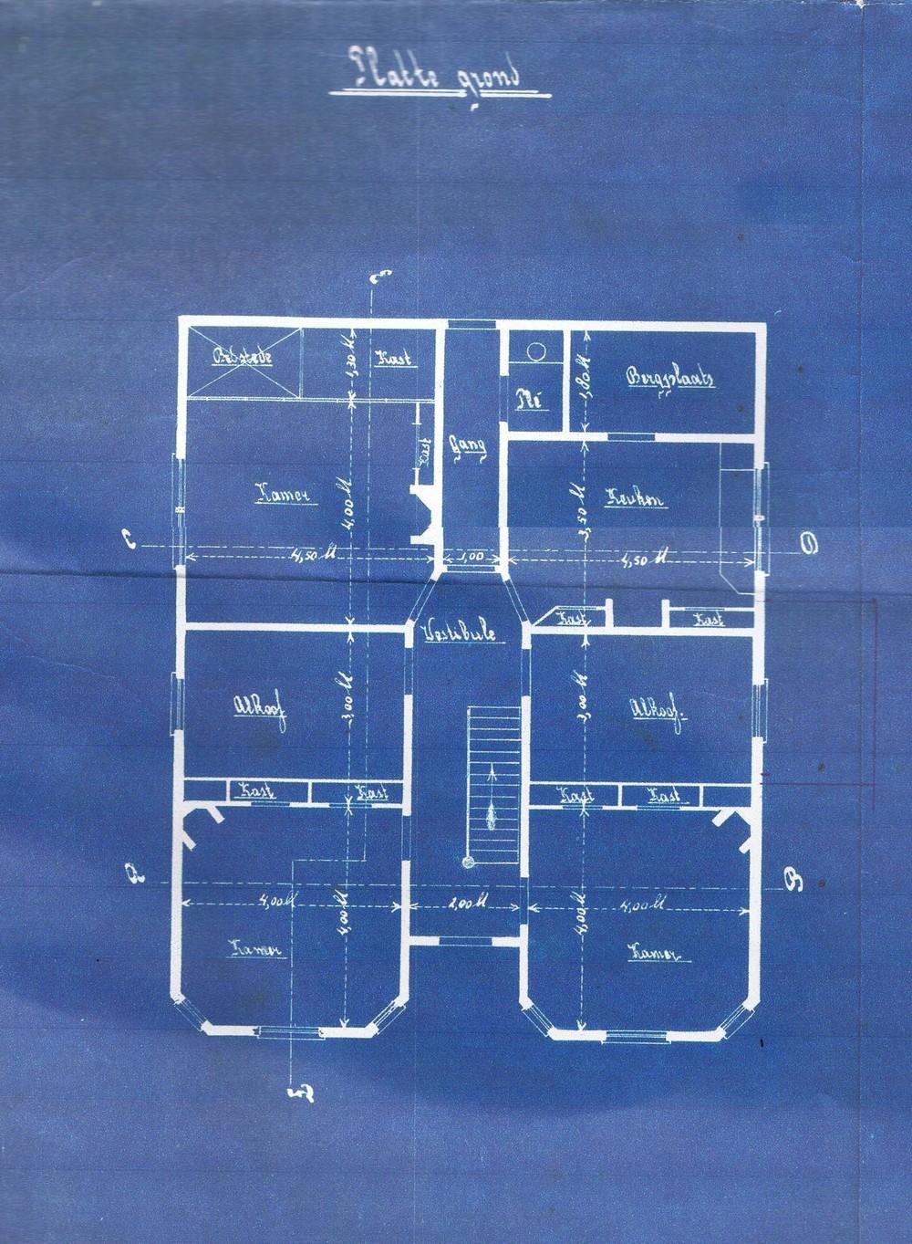 Voorbeeld van een bouwtekening van een bestaande woning (transformatie)