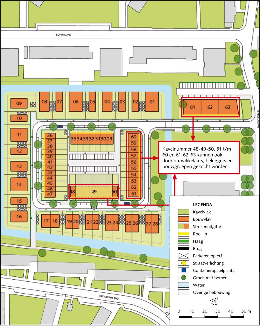Voorbeeld van een kavelplan voor een nieuwbouw wijk