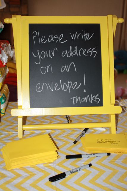Here is a great way to collect addresses of all of your guest - credit  http://catchmyparty.com/photos/1133665