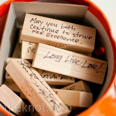 Host a lot of game nights? How about having your guest write marriage tips on game pieces - credit theknot.com