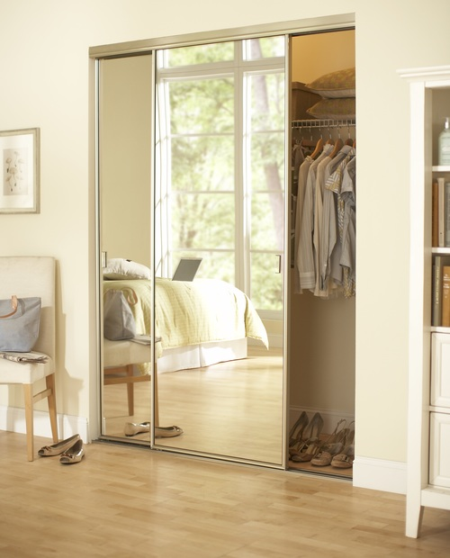Mirrored closet doors interior doors and closets small framed brushed nickel mirror 2d planetlyrics Images