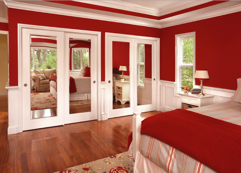 Elegant Reflections In RED Bedroom FOR ADS. Edit Caption. Wood Framed  Mirror Double Doors Nice Design