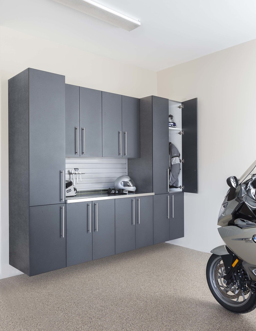 Granite Doors-Stainless with Gray Slatwall-Motorcycle-Angle-Door Open-Feb 2013.jpg