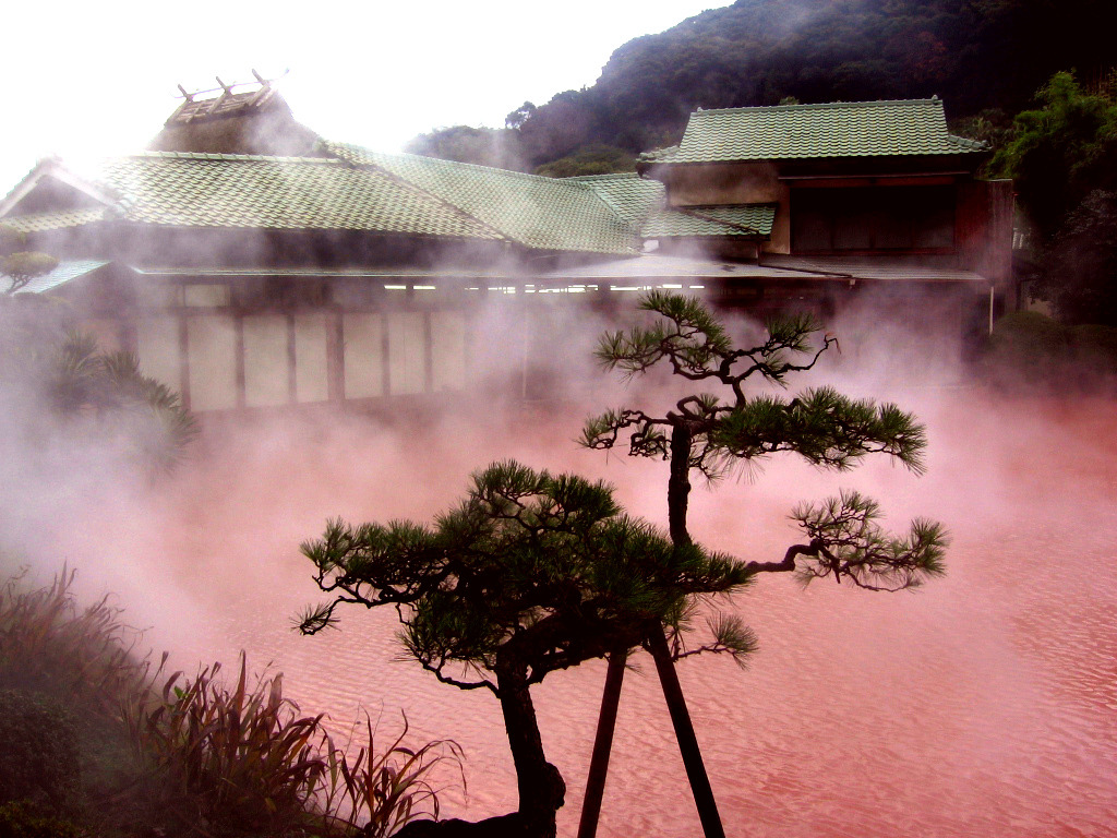 "The ""hells"" (jigoku) of Beppu are nine spectacular hot springs for viewing rather than bathing. Seven of the hells are located in the Kannawa district and two in the more remote Shibaseki district. The Chinoike Jigoku or 'blood pond hell'  features a pond of hot, red water. It is the most photogenic of the nine hells."