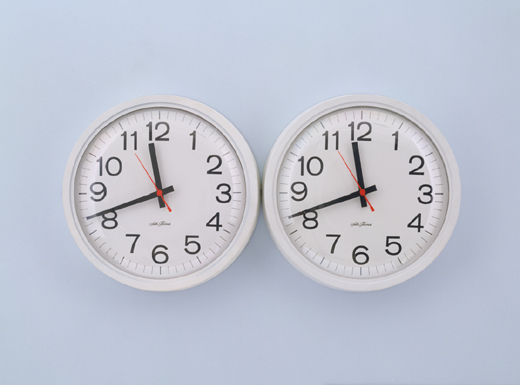 "Felix Gonzalez-Torres  Untitled  (Perfect Lovers) 1991. Clocks, paint on wall.     Untitled   (Perfect Lovers)  consists of two clocks, which start in synchronisation, and slowly, inevitably fall out of time due to the failure of the batteries and the nature of the mechanism. In a moving comment on his personal experiences, the piece refers to Gonzalez-Torres' HIV positive partner Ross Laycock, and his slow decline and inevitable death due to AIDS. The clocks act as two mechanical heartbeats; representative of two lives destined to fall out of sync, and holds a poignant poetry about personal loss and the temporal nature of life.     "" Don't be afraid of the clocks, they are our time, time has been so generous to us…We conquered fate by meeting at a certain time in a certain space…we are synchronized, now forever. I love you."""