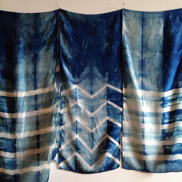 Silk, shibori dyed, indigo scarves