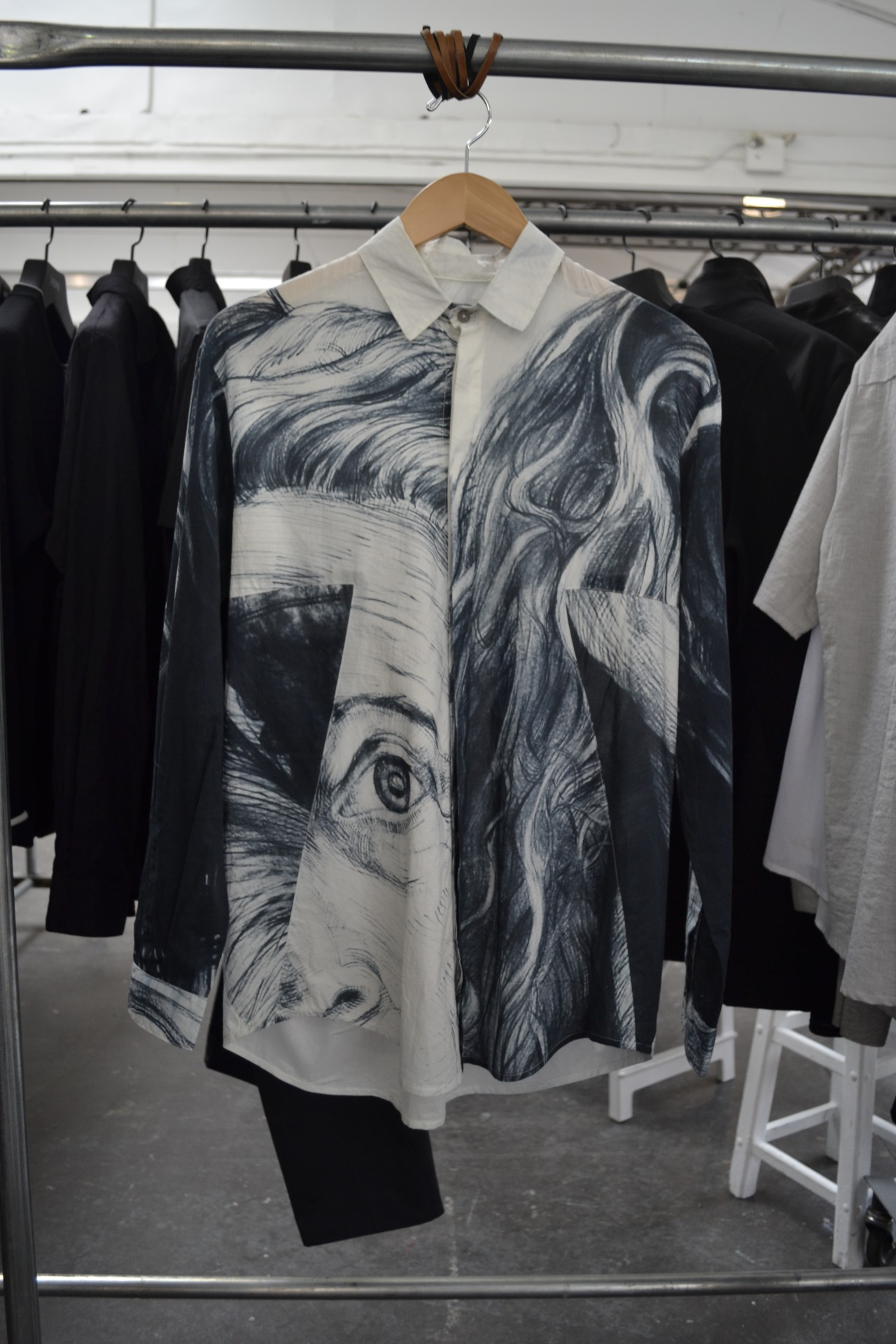 New York-based brand, House of 950 features incredible graphics on its button-downs like this haunting portrait print.