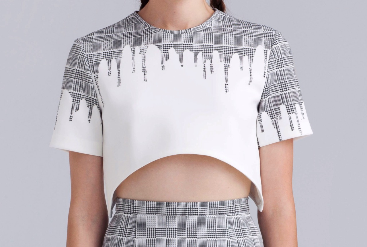 A unique and modern take on a houndstooth plaid print crop top from kaelennyc