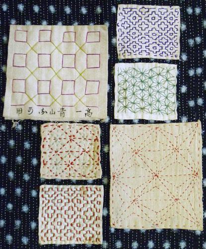 A Set of Six Small Sashiko Samples: Practice | Sri Threads