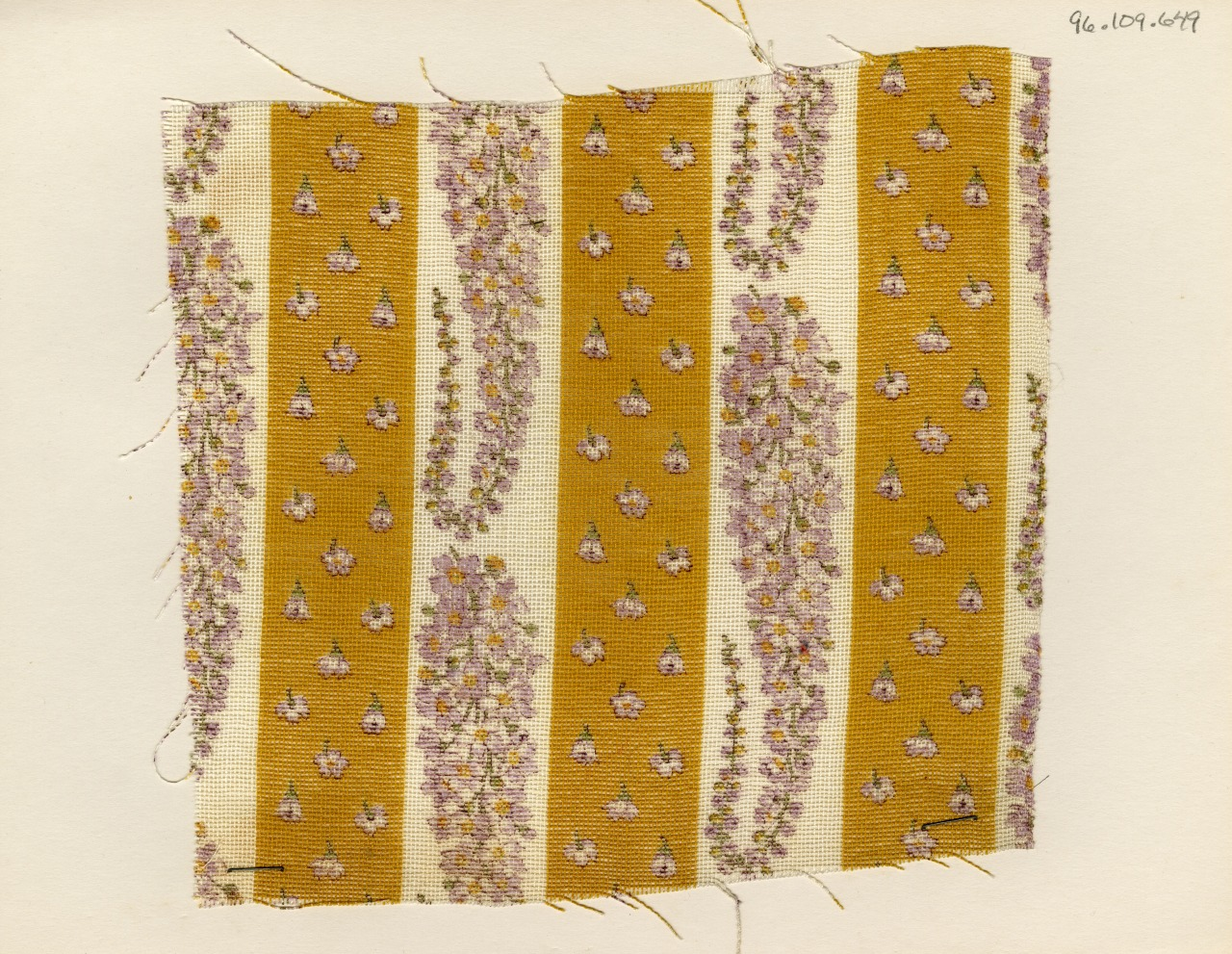 thedesigncenter: Floral paisley and stripe print. Unknown manufacturer. Late 19th century.