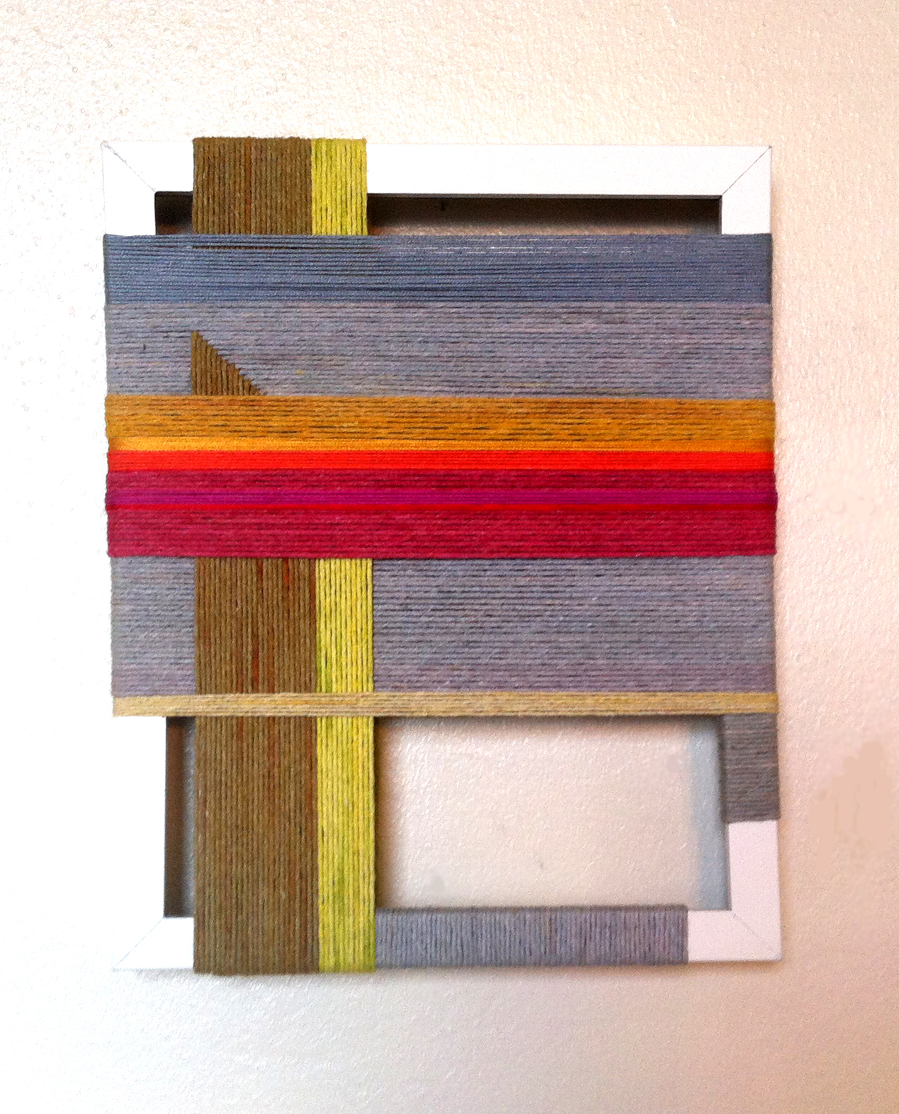 laurenbahr :     Number 8. Lauren Bahr, 9 x 11 inches, 2012, hand dyed rope around a reclaimed frame.