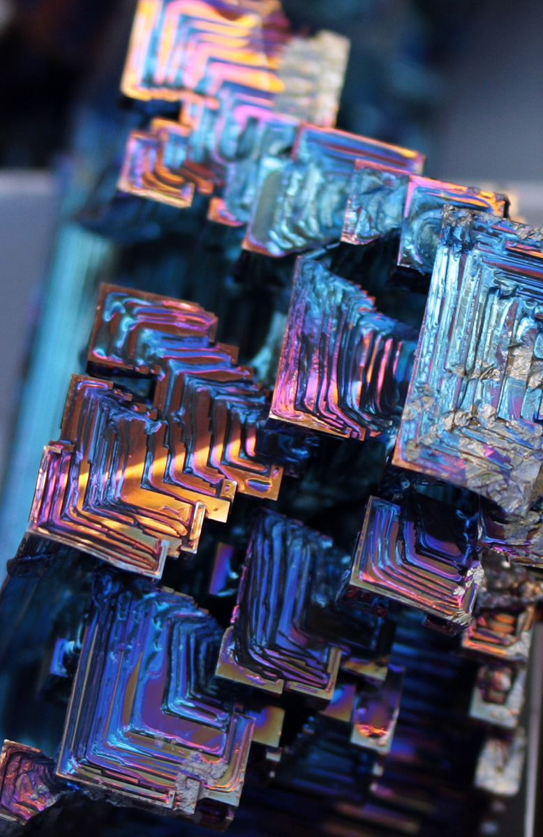 Bismuth - my flatmate is melting this stuff right now to form these geometric shapes. TOO COOL.