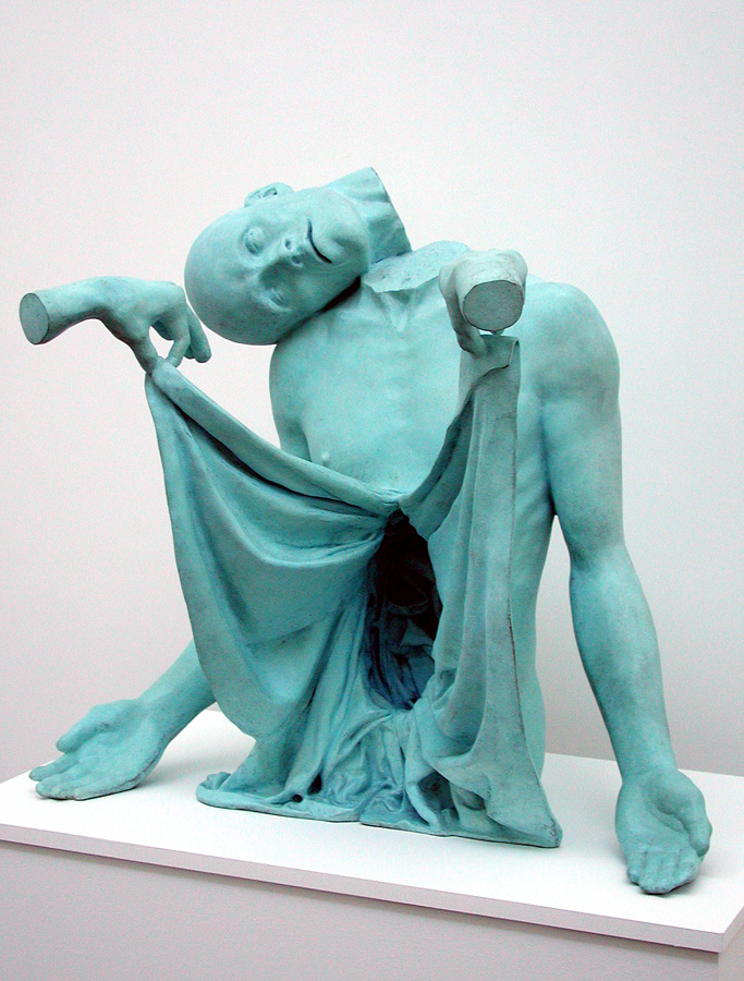 Thom Puckey    Lyrical Sculpture  bronze with blue patina  life size  1995