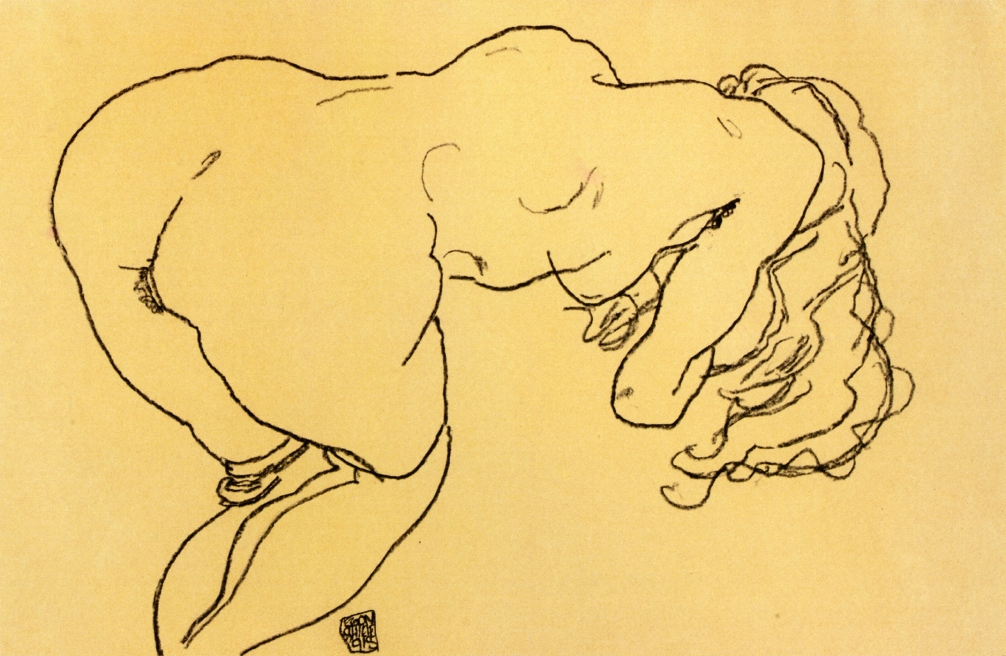 Egon Schiele, Long haired nude, bent over forward, back view, 1918