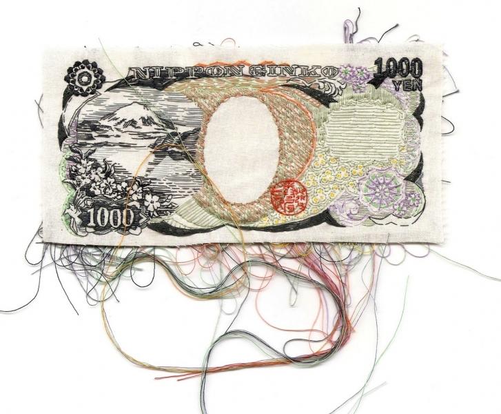 Lauren Diocicco - 1000 Yen (hand embroidered 1000 yen bill)