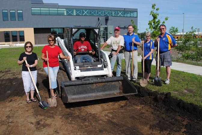 On hand for the groundbreaking Monday morning on the east side of WDC Middle/High School campus, were, from left: Donna Sartell, Wadena Elks Club member; Rose Hammes, Wadena Elks Club esquire; Nate Clefisch, Pete's Landscaping; David Evert, Stimulating Economic Progress (STEP); Tyler Church, WDC Middle/High School principal; Dr. Virginia Dahlstrom, WDC School District superintendent; and Kent Schmidt, WDC School Board director.