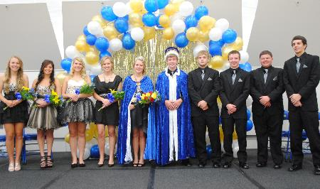 Wadena-Deer Creek High School's 2013 Homecoming Court, from left: Paige Hartman, Ella Harrison, Brandee Bly, Heather Theisen, Queen Hope Theisen, King Nick Carlson, Wyatt Weber, Jacob Goeden, Austin Hendershot and Isaac Laughlin.