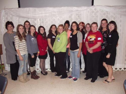 Wadena-Deer Creek FCCLA chapter attended the fall region conference in Wheaton, from left to right:  FCCLA co-advisor Sheila Winkels, Allison Gedde, Angela Torkkola, Kayla Peterson, Hope Norenberg, Lyndsay Frisch, Hayley Maloney, Kayla Hanson, Richelle Bravo, Raine Curtis, Shania Lannes, Hailey Holmes, keynote speaker Renae Groskreutz, and FCCLA co-advisor Cindi Koll.